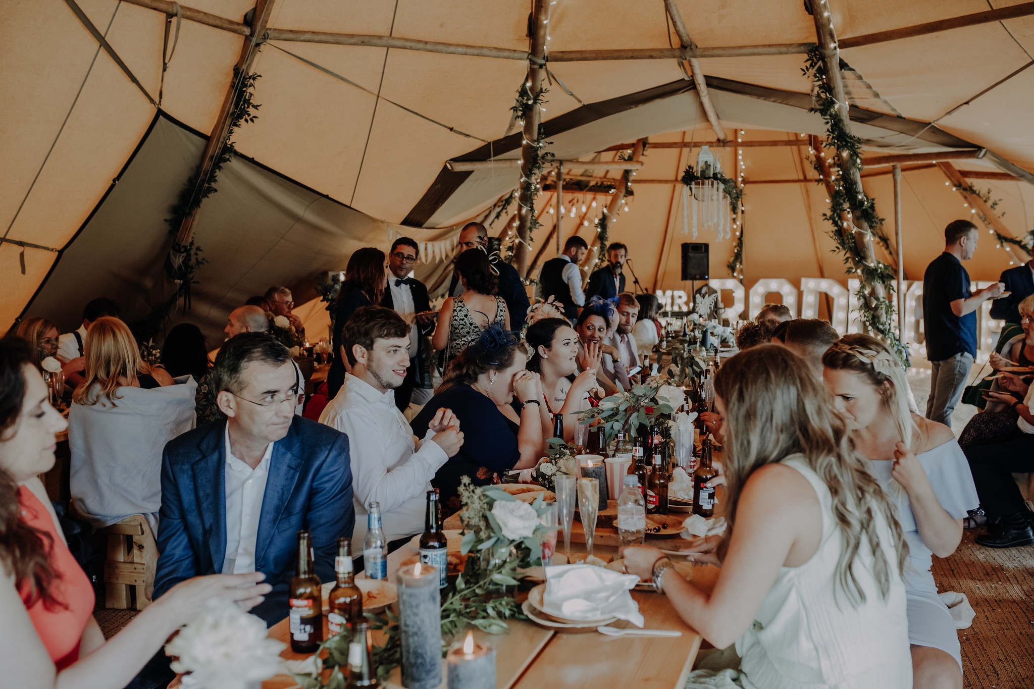 inside a tipi wedding